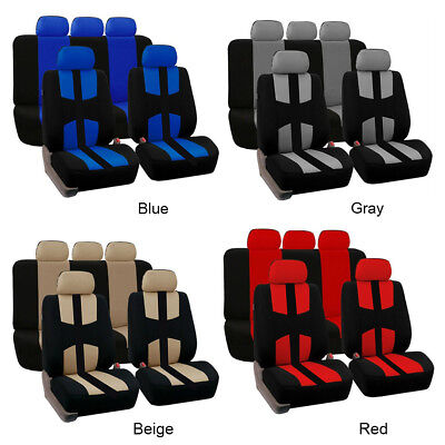 9Pc Universal Car SUV Seat Covers Front Rear Head Rests Full Set Auto Seat Cover