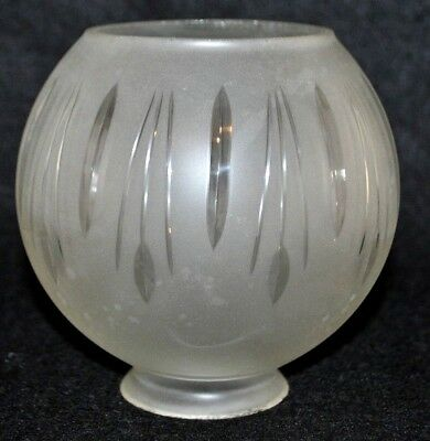 "Antique Vintage Gas Lamp Light Fixture Frosted Etched Glass Globe Shade 2"" Fit"