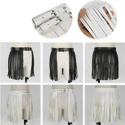 Women Faux Leather Waistband Fringe Tassel Skirt Belt For stage perform Clubwear