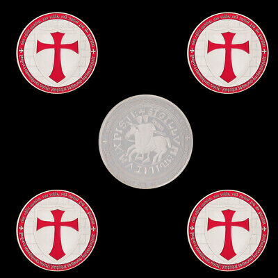 The Red Knights Templar Crusaders Shield Cross Commemorative Silver Plated Coin