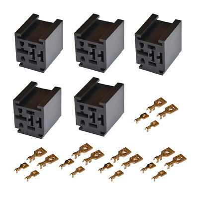 1-10 Set 80A Relay Connector 4-Pin Mounting Socket + 4 Terminal Base Holder SPST