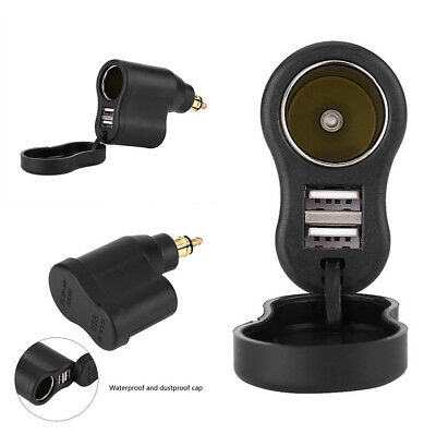 3.3A Dual USB Motorcycle Charger Adapter Cigar Lighter Socket For BMW Din Hella