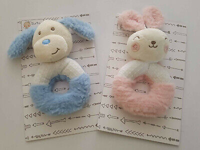 New soft Toby Puppy dog Blue Baby rattle or comforter, security blanket,