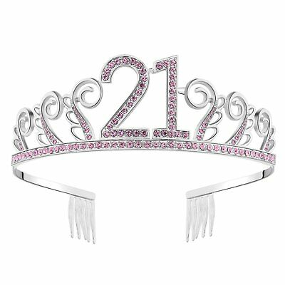 Happy Birthday 21st Silver Crystal Tiara Crown Styling Accessories Headband NEW