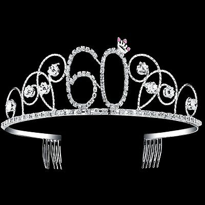 Happy Birthday 60th Diamante Crystal Tiara Crown Princess Crowns Hair Silver NEW