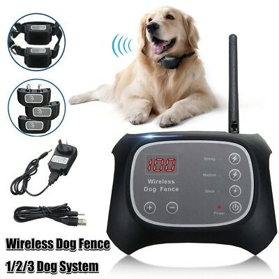 1/2/3 Pet Dog Fence Containment System Waterproof Electric Transmitter Collar US