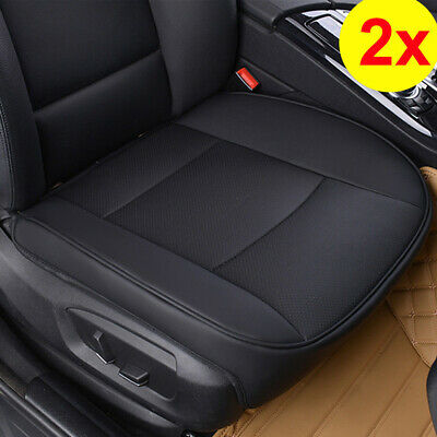 2x PU Black Full Surround Leather Car Front Seat Cover Breathable Chair Cushion