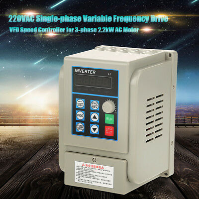 12A 2.2KW VFD Variable Frequency Drive Adjustable Motor Speed Controller AC220V