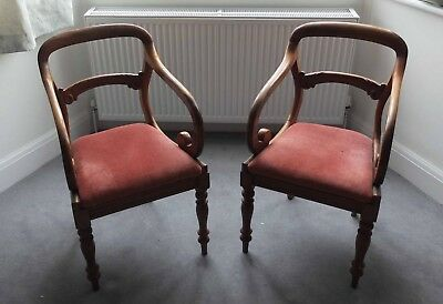 Pair Of Antique Armchairs, Victorian