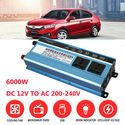 Solar Power Inverter 6000W LED Display DC 12V To AC 220V Sine Wave Converter Lot