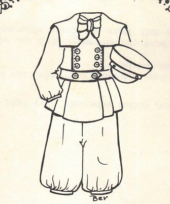 """Period clothes BOY Man outfit French German  PATTERN for a 17"""" 18"""" Doll 708"""