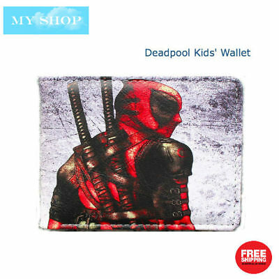 Deadpool with Katana - Children Teen-ages Faux Leather Bi-fold Slim Wallet