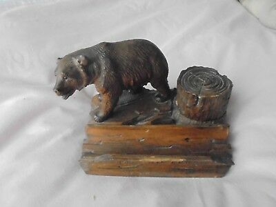 Antique Swiss Vintage Black Forest Hand Wood Carving Bear Ink Well