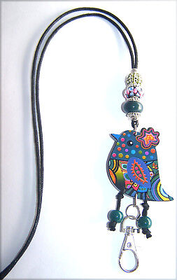 Cute Green Paisley Bird With Murano and Crystal Beaded Lanyard / ID Badge Holder