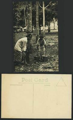 Singapore Old RP Postcard Tapping Rubber Trees Woman Boy Workers, English Method