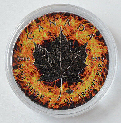 2017 1oz .999 Canadian  Maple Leaf Fire Background Ruthenium Silver Coin
