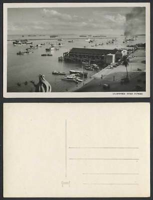 Singapore Old Real Photo Postcard Clifford Pier, Boats Ships Harbour Street Cars