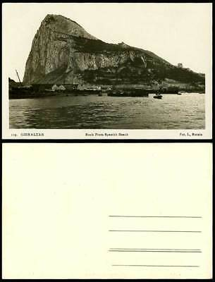 Gibraltar - ROCK from SPANISH BEACH Spain Old Real Photo Postcard Boats Panorama