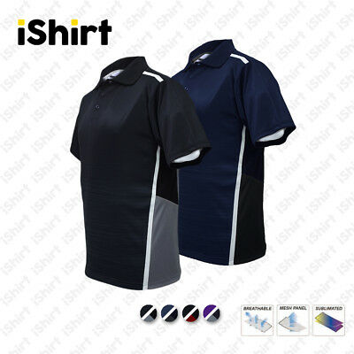 Mens Polo Shirt 100% Polyester Cool Dry Sublimated Sports Side Panel Polo