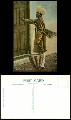 India MEHTAR SWEEPER Old Postcard Native Man with Broom Carry Basket at the Door