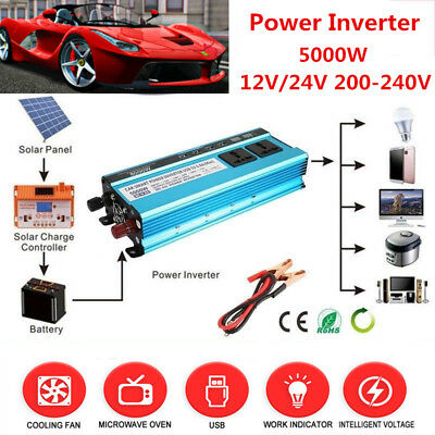 Solar Power Inverter 5000W LED 12V/24V DC to 110V/220V AC Sine Wave Converter