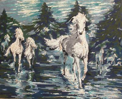 """VINTAGE chevauchée - horse charge cotton tapestry needlepoint 25.5""""x20"""""""