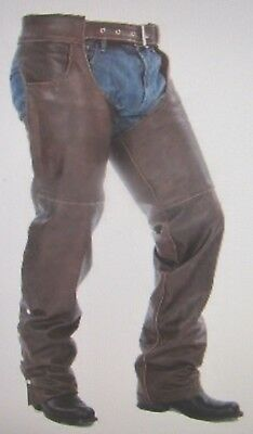 Mens New Premium Leather Brown Biker Motorcycle Chaps W/ Jean Pockets
