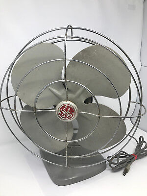 Vintage 1950's GE General Electric Oscillating Desk Fan Works Gray with VIDEO