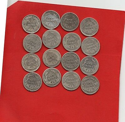 16 x USA BARBER DIME SILVER COINS. 1900 - 1916 UNITED STATES OF AMERICA 10 CENTS