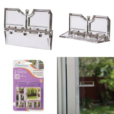DreamBaby Sliding Door / Window Fold Down Lock 2pk - Child Proof Safety L806