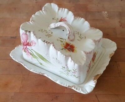 Large Vintage Antique Victorian Ceramic Cheese Wedge Dish - Pink Flowers