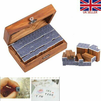 Alphabet Rubber Stamp Wooden Box Vintage style Spare Extra Wood Letters Numbers