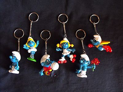 Smurf Lot ~ 6 Key Chains ~ New Old Stock ~ Vintage ~ Peyo ~ Schleich