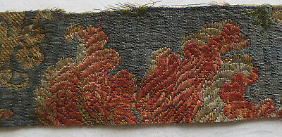 """Vin. Silk Brocade Fabric w/ Metallic Accents Blossoms 9 3/4 x 2 1/4""""  French"""