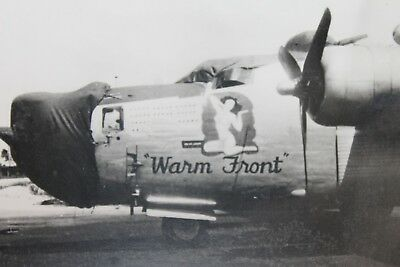 """Original WW2 U.S. Army Air Forces Bomber w/Nose Art """"Warm Front"""" Photograph"""