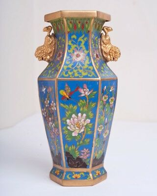 Vintage Chinese Republic Period Hexagonal Cloisonne Vase with Butterfly & Bird