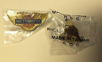 Vintage 1970-80'S Harley Davidson Eagle Wings Old Enamel Pin W/Bonus Eagle Pin
