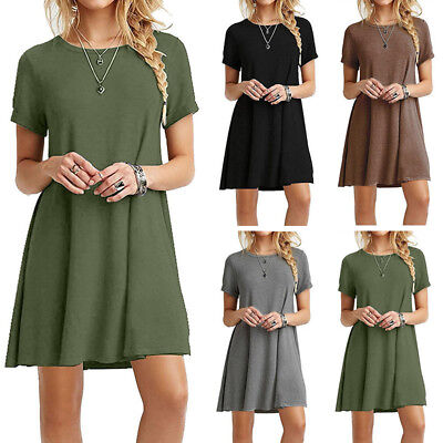 Women Lady Summer Short Sleeve Casual Blouse Loose Tops T-shirt Party Mini Dress