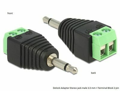 Delock Adapter Stereo jack male 3.5 mm > Terminal Block 2 pin Pitch 5.0 mm