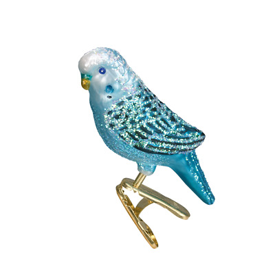 """Miniature Parakeet"" (Blue) (18049)X Old World Christmas Glass Ornament w/OWC Bx"