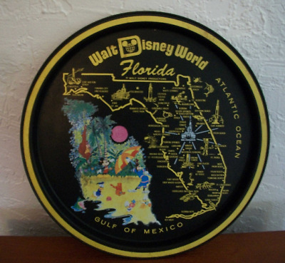 Vintage Walt Disney World Tin Metal Round Tray Plate Black circa 70's Florida