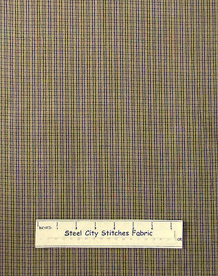 Homespun Primitive Colonial Check H202 Dk Gold Cotton Fabric Dunroven 1.5 Yards