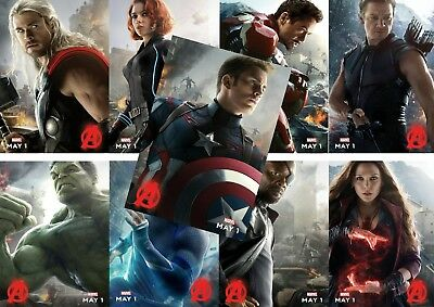 Avengers Age Of Ultron Hulk Thor Hawkeye Black Widow Character Poster A5 A4 A3