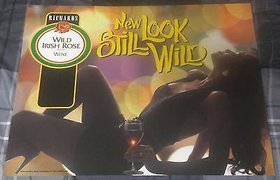 Richard's Wild Irish Rose Wine / Sexy Woman New Look Still Wild Poster Man Cave