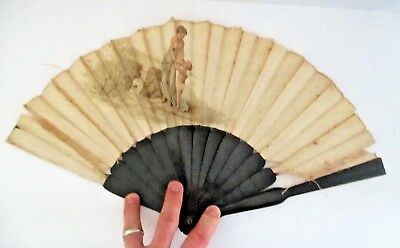 Antique 19th Century French Neoclassical Fan Aphrodite Eros Printed Lauronce