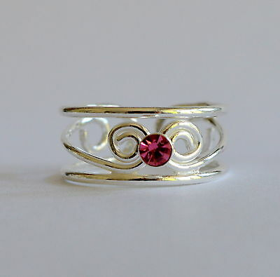 Sterling Silver (925) Adjustable  Pink  Jewel  Stone  Toe  Ring !!    New !!