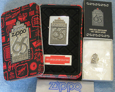 ZIPPO 65TH ANNIVERSARY  Lighter & Pin  COLLECTIBLE of the YEAR Limited COTY 1997