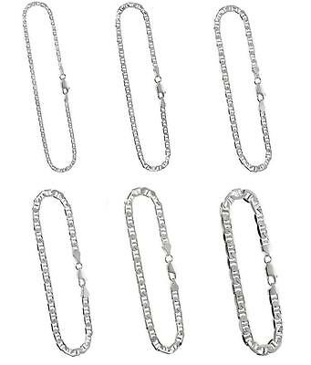 2mm to 7.2mm Sterling Silver Flat Anchor/Mariner(Marina) Chain Necklace/Bracelet