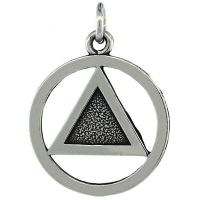 """Sterling Silver Sobriety Symbol Recovery Pendant / Charm,18"""" Italian Box Chain"""