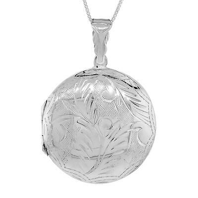 """Sterling Silver Hand Engraved Round Locket Pendant / Charm,18"""" Italian Box Chain"""